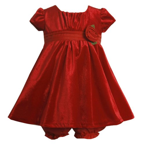 Bonnie Jean Baby/INFANT 12M-24M 2-Piece RED STRETCH VELVET PLEATED ROSETTE TRIM WAIST Special Occasion Flower Girl Valentine Party Dress