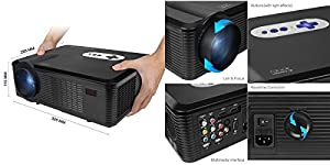 FastFox HD Projector Full Color 720P 3000 Lumens Analog TV Single LCD Panel LED Technology Multimedia Beamer Home Proyector for Theater Tablet Video Movie Bussiness by FastFox