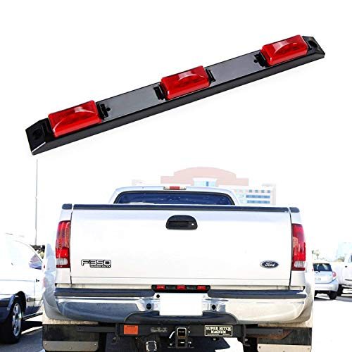 iJDMTOY Truck Bed Super Red LED Running Lights For Ford F-Truck Super Duty Dodge RAM Chevy Silverado GMC Sierra Heavy Duty, Center Rear Mount Light Assy Powered by 9 NICHIA Super FLUX LED Emitters