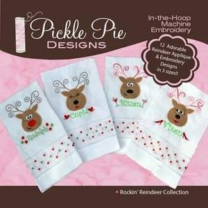 Pickle Pie Designs In The Hoop Machine Embroidery Designs Rockin' Reindeer Collection (12 Designs) on CD-ROM