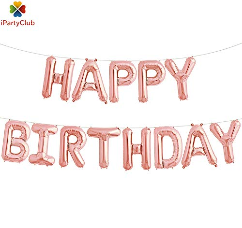 Happy Birthday With Balloons (Rose Gold Happy Birthday Balloons, iPartyClub Aluminum Foil Birthday Banner Balloon with LOVE balloons for Birthday Party Decorations (Rose)