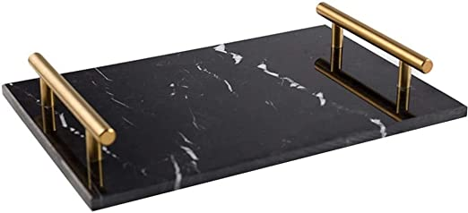 Black Decorative Marble Cheese Serving Tray With Gold Handles 11 81 X 7 87 X 1 77 In Amazon Ca Home Kitchen