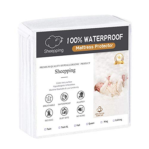 Queen Mattress Protector Fitted Sheet Bed Cover (Fits 18 Inches H) - Waterproof Cotton Terry Surface, Noiseless, Hypoallergenic. Pet & Fluids Proof. Safe Sleep for Adults & Kids (Queen, 60 W x 80)