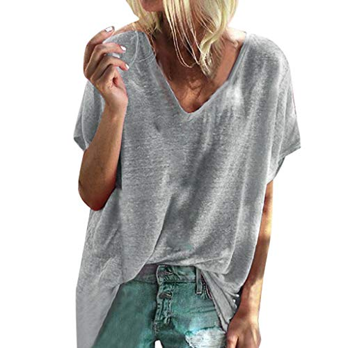 (Big Promotion Loose Blouse for Womens Ladies Short Sleeve T Shirt Summer Casual Solid V-Neck Pullover Tops Gray)