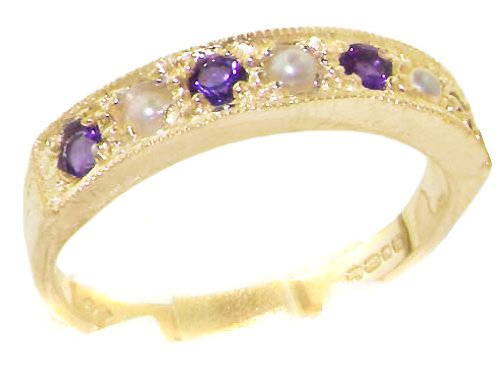 Estate 14k Ring - LetsBuyGold 14k Yellow Gold Cultured Pearl and Amethyst Womens Band Ring - Sizes 4 to 12 Available