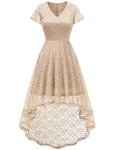 - Bbonlinedress Women's Floral Lace Hi-Lo Cap Sleeve Formal Cocktail Party Dresses Champagne XL