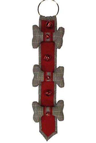 Dog Bone Jingle Bells Glen Plaid 22 Inch Polyester Christmas Door Hanger by D. Stevens, LLC