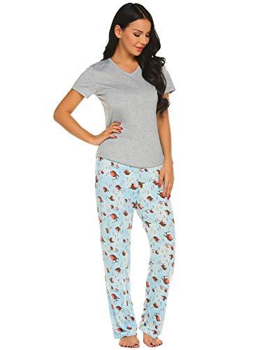 Ekouaer Women's Pajamas Short Sleeve Sleepwear Scoop Neck Nightwear Stripe Printed Two Piece PJs Set, L.grey Textile, -
