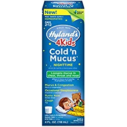 Hyland's 4 Kids Cold 'n Mucus Nighttime Relief Liquid, Natural Relief of Chest Congestion, Sleeplessness, Runny Nose, Sore Throat, Sneezing, Cough, 4 Ounces