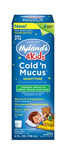 Hyland's 4 Kids Cold 'n Mucus Nighttime Relief Liquid, Natural Relief of Chest Congestion, Sleeplessness, Runny Nose, Sore Throat, Sneezing, Cough, 4 Ounces (Homeopathic Medicine Sore Throat)
