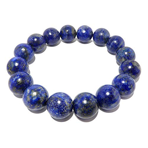 (SatinCrystals Lapis Bracelet 11mm Boutique Genuine Deep Blue Gemstone Round Handmade Stretch B01)