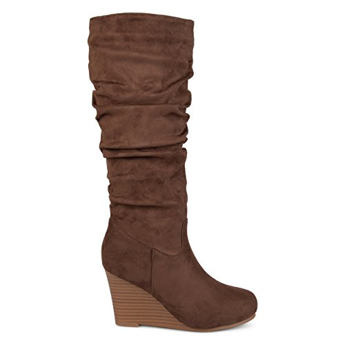 Brinley Co Womens Regular and Wide Calf Slouchy Faux Suede Mid-Calf Wedge Boots Brown, 7 Regular US