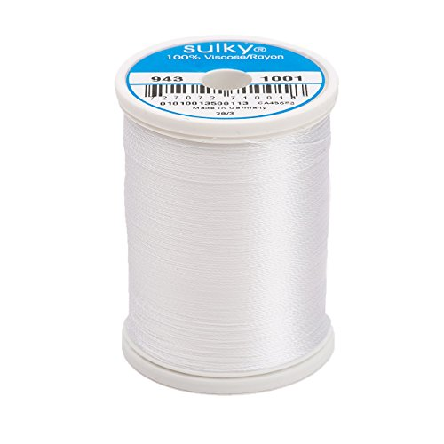 (Sulky Of America 268d 40wt 2-Ply Rayon Thread, 850 yd, White )