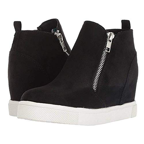(Womens Platform Wedge Sneaker Booties Slip on High Top Heeled Zip Up Pump Ankle Boots)