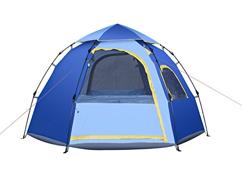 Yongtong Backpacking Tent, Big Size 4-6 person Double Layer Tents, Automatic Pop Up, 2 Doors 2 Windows, Anti-UV Windproof Waterproof, with Carry Bag, for Camping/Hiking/Travel/Hunting (Blue)