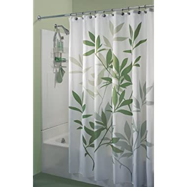 InterDesign Leaves Shower Curtain, 72 by 72-Inch, Gray/Mint