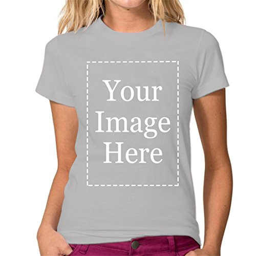 (Custom T Shirts Add Your Text Ultra Soft for Women Cotton T Shirt Gray S)