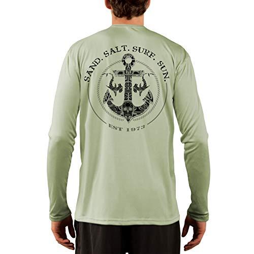 SAND.SALT.SURF.SUN. Shark Anchor Men's UPF 50+ Long Sleeve T-Shirt XX-Large Sage