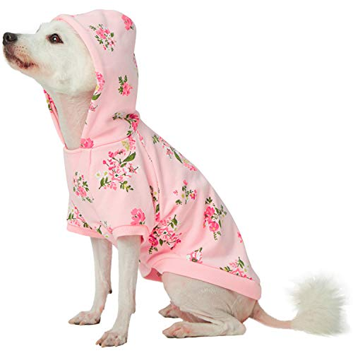 Blueberry Pet 2019 New Spring Scent Inspired Daisy Flower Pullover Dog Hooded Sweatshirt in Baby Pink, Back Length 12