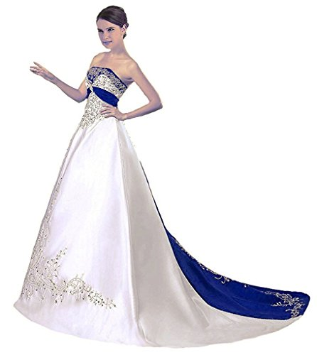 APXPF Women's Satin Embroidery Wedding Dress With Cathedral Train White and Royal - Strapless Train Royal Length