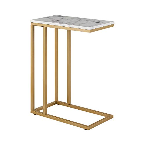 ROSEN Garden Faux Marble C-Shape Side End Table with Metal Frame, Tray Snack Table, Laptop Coffee Holder, Modern Furniture, White