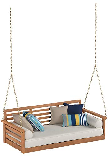 Cari Bay Deep Seating Porch Natural Finish Swing Bed Made of Eucalyptus Wood with Khaki Cushion and 4-Foot Hanging Chain - Assembly Required