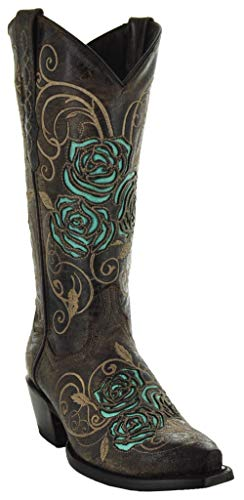 Soto Boots Turquoise Rose Country Cowgirl Boots M50032 (Brown,5.5)