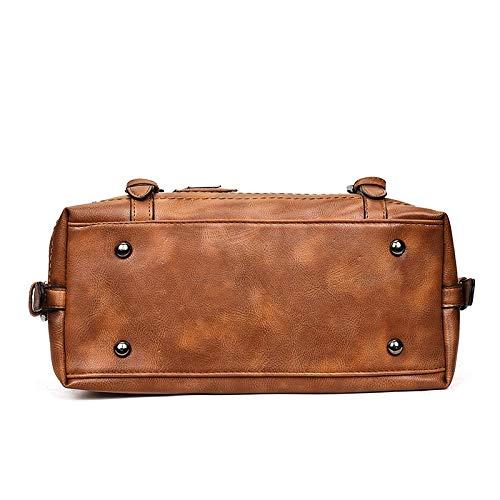 Bag Black Color : Black ZQ House Fashion Casual Retro Oil PU Shoulder Bag Ladies Handbag Messenger Bag