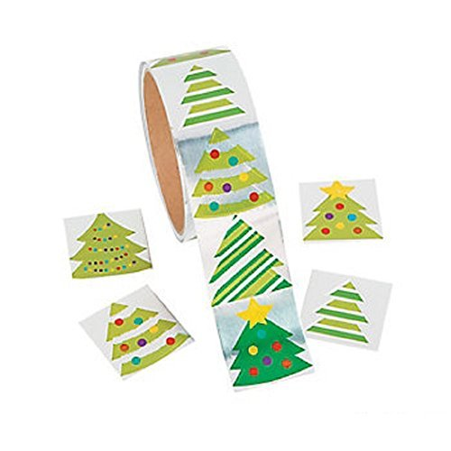 Fun Express Foil Christmas Tree Roll Stickers - 1 Roll Christmas Stickers
