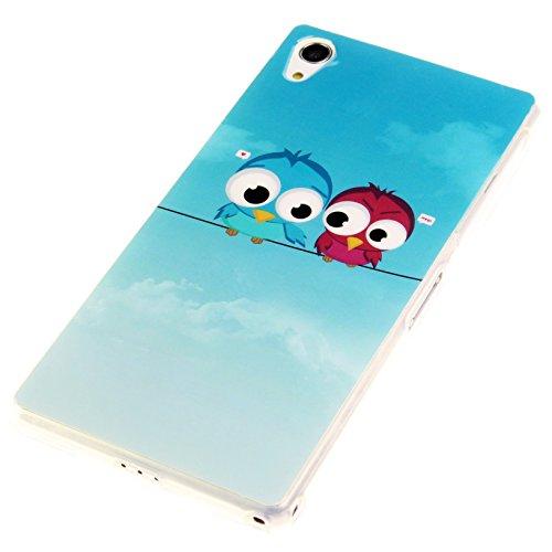 Handy Lux® Schutz Hülle für Apple iPhone 5 5S TPU Silikon Case Etui Cover Involto Motiv Design Hülle Zwei Eulen Vögel