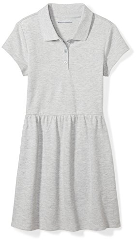 (Amazon Essentials Big Girls' Short-Sleeve Polo Dress, Gray, L)