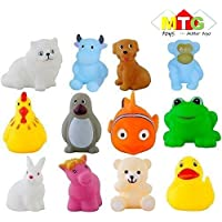 METRO TOY'S & GIFT Squeeze Chu Sound Soft Natural Rubber Non-Toxic Toddler Baby Bath Animal Shape Toys, 12 Pieces (Assorted)