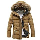 kemilove Fall Winter Keep Warm Puffer Down Jacket Fur Hood Outwear for Men Boys