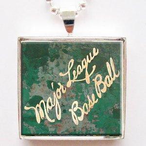 Major League Basebal Glass Tile Pendant Necklace with - Glasses League Major