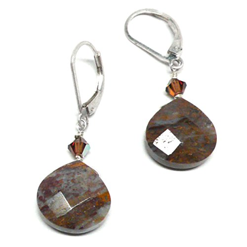 Brown Jasper Earrings - Pietersite Briolette Sterling Silver Lever Back Earrings Swarovski Crystal
