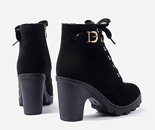 Catkit Womens Fashion High Heel Faux Leather Zipper Buckle Lace Up Ankle Boots Black 6NmPhK1Tl