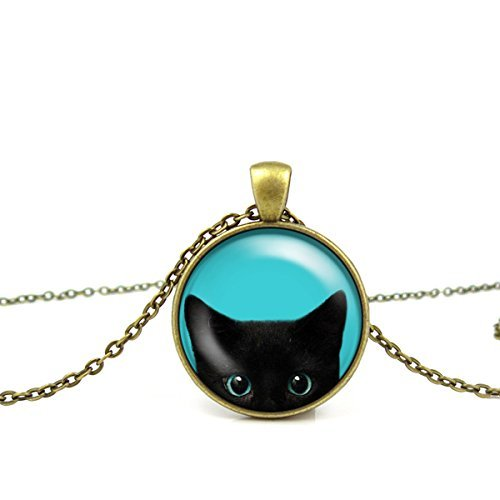 Halloween Jewelry (Black Cat Necklace - Peeking Black Cat Pendant - Cute Black Cat Jewelry)