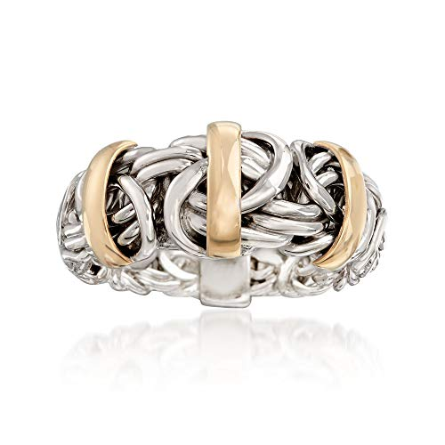 (Ross-Simons Two-Tone Byzantine Ring in Sterling Silver With 14kt Yellow Gold)