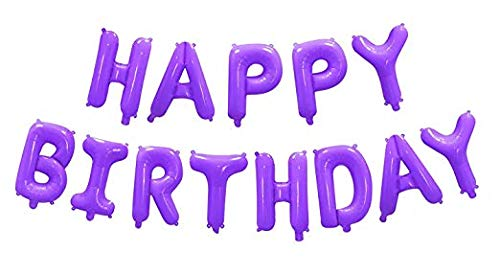 16 Inch Happy Birthday Aluminum Metallic Foil Letters Alphabet Balloons Banner with Pump for Birthday Party Decoration (Purple)