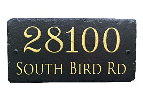 Sassy Squirrel Beautifully Handcrafted and Customizable Slate Home Address Plaque (18
