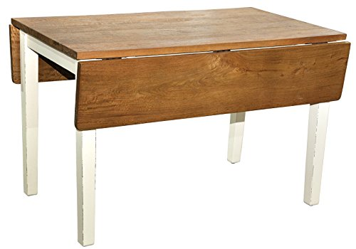 Casual Elements Provence Drop Leaf Table, Light Distressed Linen/Rustic Mango Natural