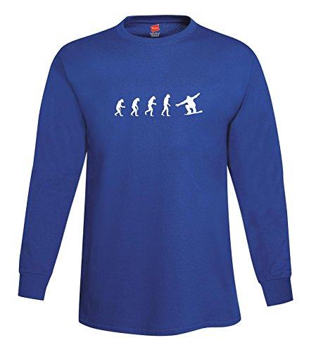 ShirtLoco Men's Evolution Of Man To Snowboarder Long Sleeve T-Shirt, Deep Royal Extra ()