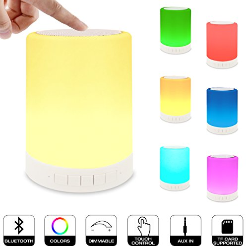 - ZHOPPY Night Light Bluetooth Speakers, Touch Control Bedside Lamp Portable Table Lamp Color LED Outdoor Speaker Light Music Player Birthday Gifts