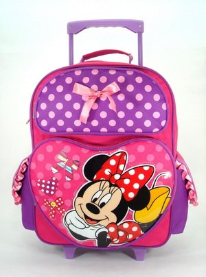 Full Size Pink and Purple Minnie Mouse Rolling Mochila – Minnie Mouse Maleta con Ruedas