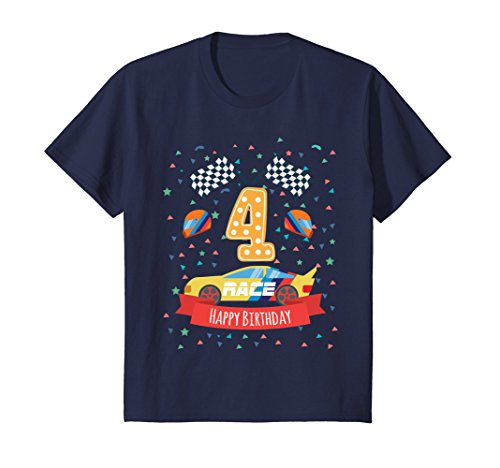 Race Day T-shirt (Kids 4th Birthday | 4 Years Old Happy Birth Day Race Car T-shirt 4 Navy)