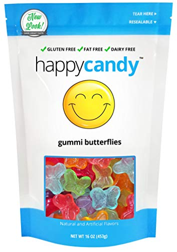 Happy Candy Gummi Butterflies - 6 Flavors - Gluten Free, Fat Free, Dairy Free - Resealable Pouch (1 Pound)