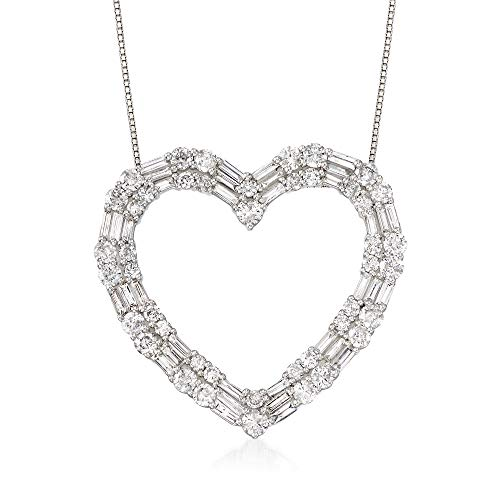 (Ross-Simons 3.00 ct. t.w. Round and Baguette Diamond Open Heart Necklace in 14kt White Gold)