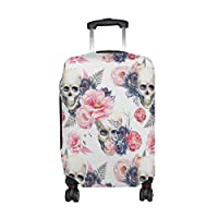 U LIFE Floral Skull Flowers Luggage Suitcase Cover Protector for Kids Men Women
