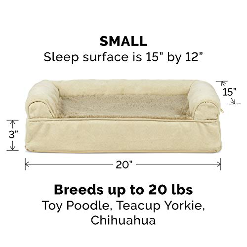 Image of FurHaven Pet Dog Bed | Memory Foam Plush & Suede Couch Sofa-Style Pet Bed for Dogs & Cats, Clay, Medium