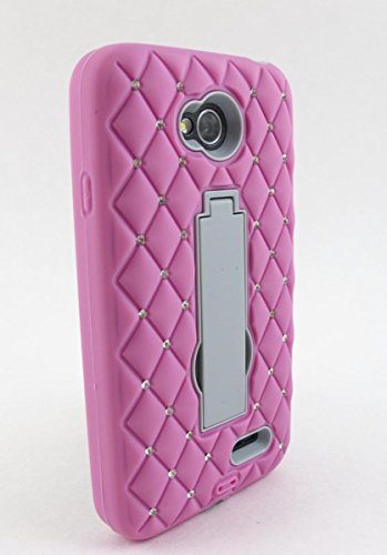 Kaleidio [Wallop Armor] Dual Layer Hybrid Gem Studded Case with Kickstand for LG Realm LS620 (Boost Mobile) / Ultimate II 2 L41C (Tracfone / NET10) [Package Includes a Overbrawn Prying Tool] - Retail Packaging [Light Pink/Grey] (Boost Mobile Phones Case Lg Realm)